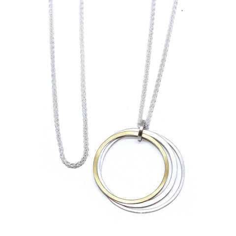 Manu Hoop Sterling Silver 22ct Yellow Gold Bi-Metal Necklace