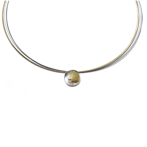 Manu Eclipse Pearl Sterling Silver 22ct Yellow Gold Bi-Metal Multi-Wire Necklace