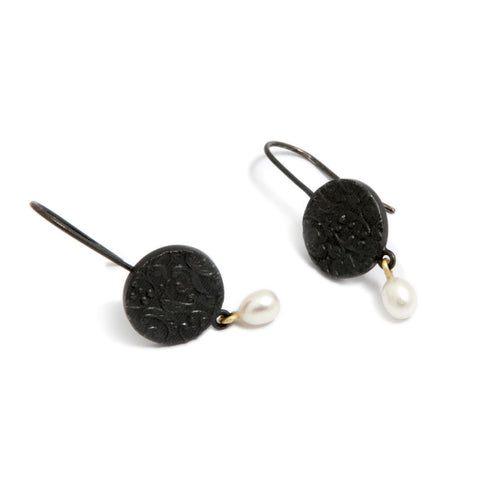 Marianne Anderson Embossed Pearl Drop Oxidized Silver Earrings