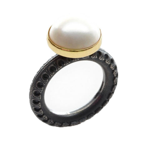 Marianne Anderson Round Pearl Oxidised Silver Ring