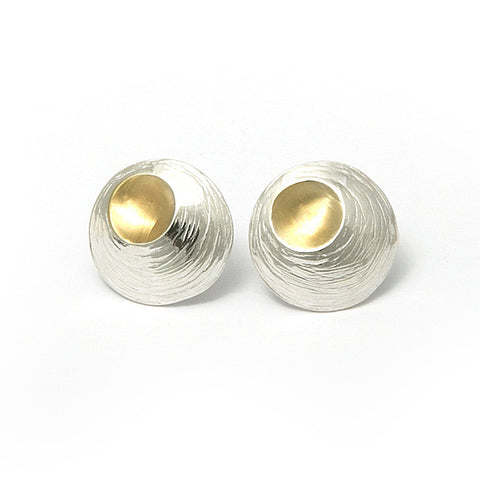 Martina Hamilton Small Oyster Yellow Gold Plated Silver Earrings