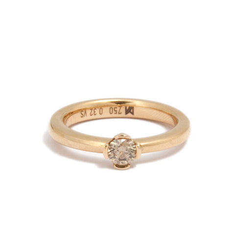 Meister 18ct Rose Gold Round Brilliant Cut Cognac Diamond Ring