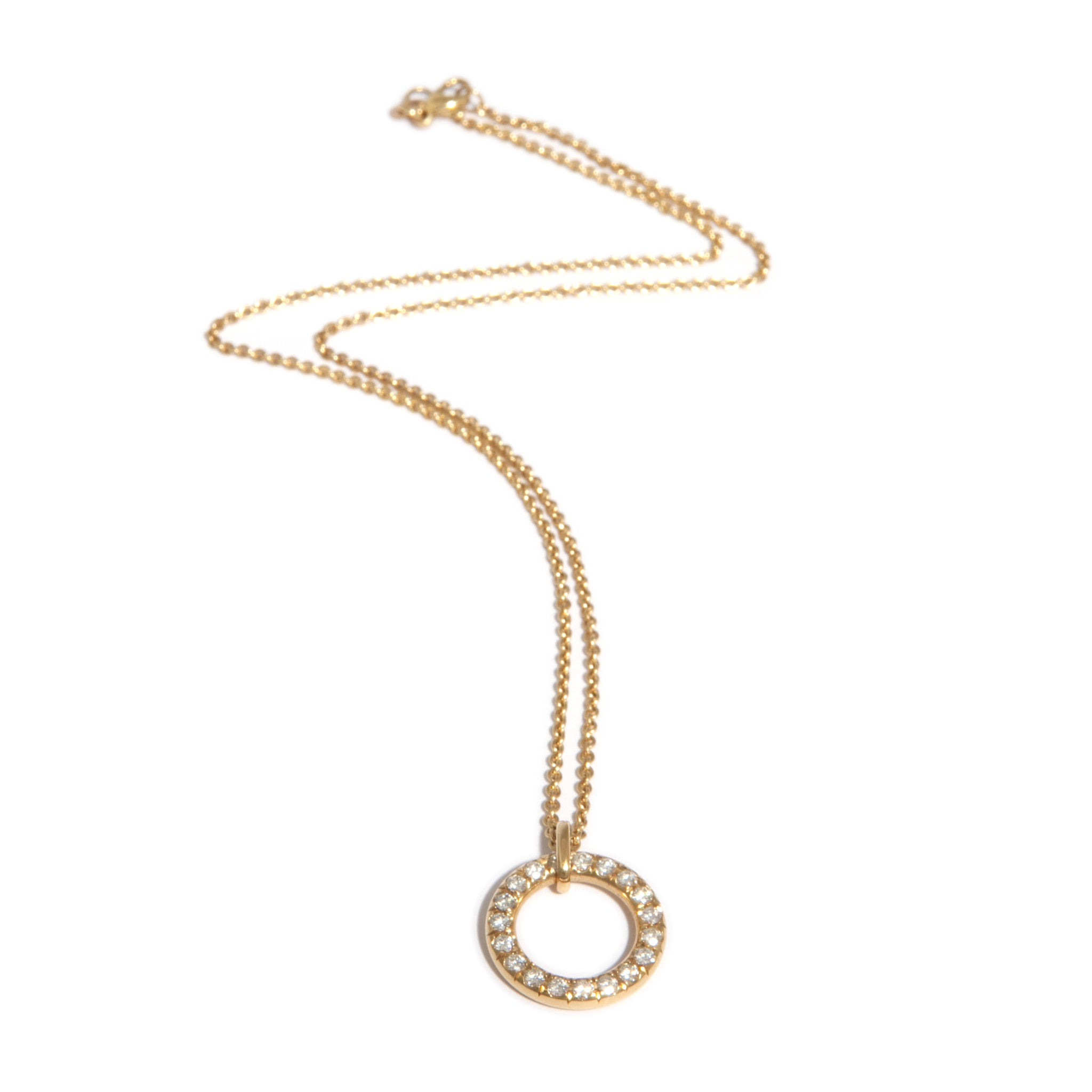 gold circle metallic small coin lyst s necklace women jewelry roberto diamond pendant white