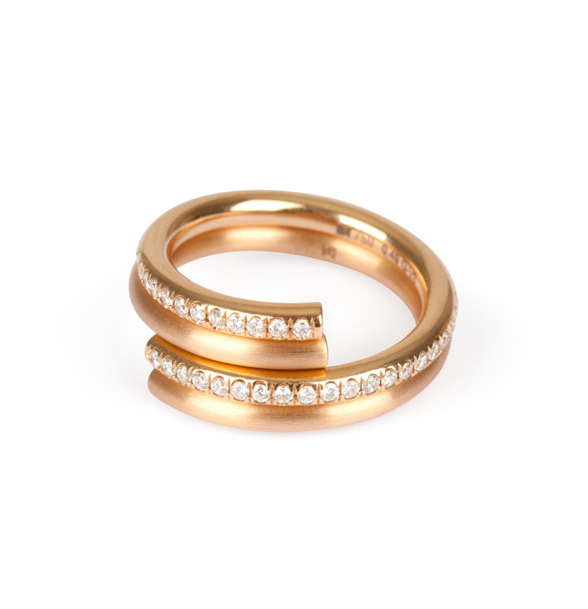 ring rivoir diamond gold rose champagne