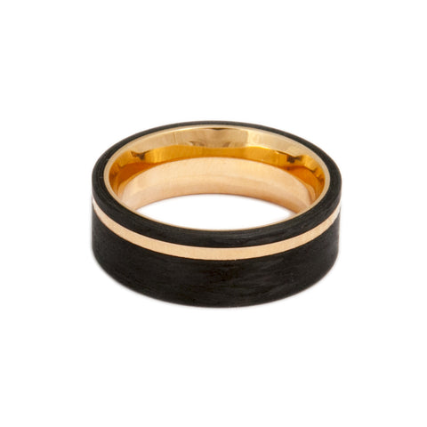 Meister Men's Carbon Fibre 18ct Rose Gold Ring