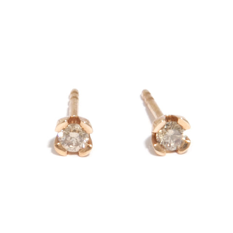Meister 'Tulip' 18ct Rose Gold Stud Cognac Diamond Earrings