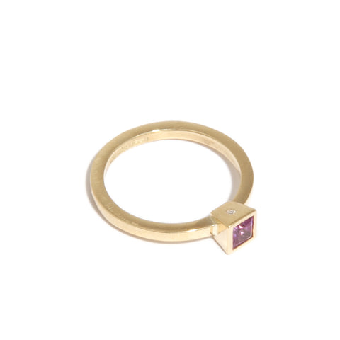 Mia Mullen 18ct Yellow Gold Princess Cut Pink Sapphire & Diamond Ring