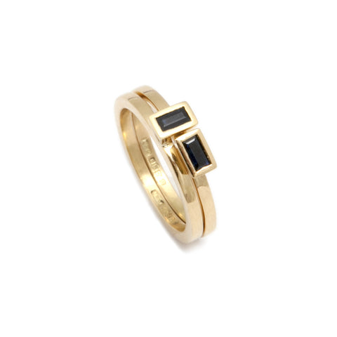 Mia Mullen Baguette Blue Sapphire Double Stack 18ct Yellow Gold Ring