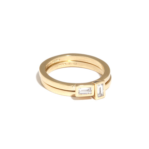 Mia Mullen Baguette Diamond Double Stack 18ct Yellow Gold Ring