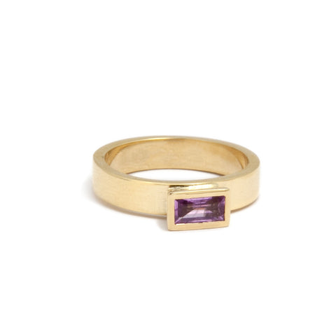 Mia Mullen Baguette Pink Sapphire 18ct Yellow Gold Ring