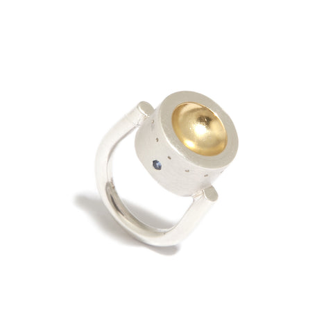 Mia Mullen 'Lovelock' Yellow Gold Plated Sapphire Silver Ring