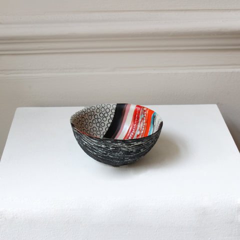 Michele Hannan 'Black & Red Reflections' Bowl Ceramic Sculpture