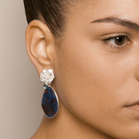 Miranda Sharpe Bloom Drop Blue Topaz Grey Enamel Silver Earrings