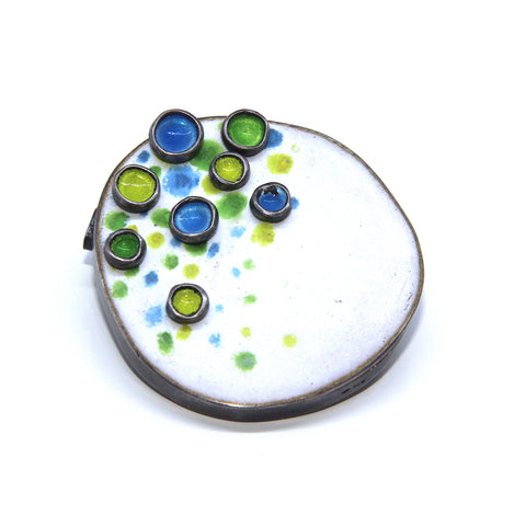 Miranda Sharpe Flourish Blue, Yellow & Green Enamel Silver Brooch