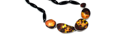 Miranda Sharpe One of a Kind Onyx and Enamel Silver Necklace