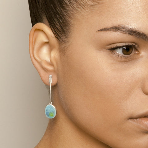 Miranda Sharpe Petri Drop Crystal Blue Enamel Silver Earrings