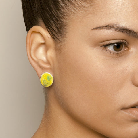 Miranda Sharpe Petri Stud Yellow Blue Enamel Silver Earrings