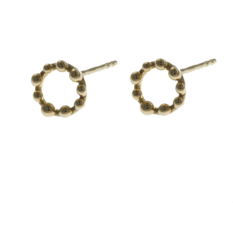 Miriam Oude Little Circle Balls Vrielink 14ct Gold Earrings