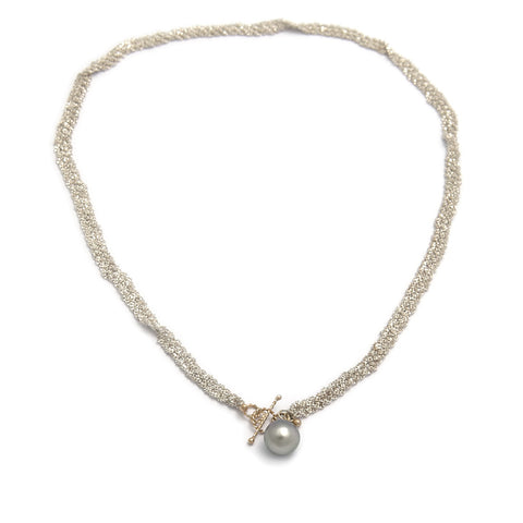 Miriam Oude Vrielink 14ct Gold Clasp Ball Chain Silver Necklace