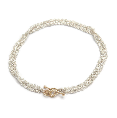 Miriam Oude Vrielink 14ct Gold Clasp Ribbon Chain Silver Bracelet