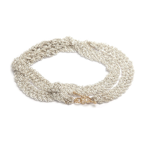Miriam Oude Vrielink 14ct Gold Clasp Double Chain Silver Bracelet