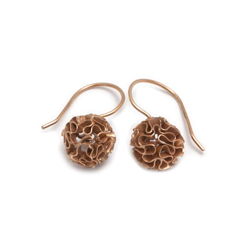 Miriam Oude Vrielink 14ct Rose Gold Coral Sphere Hook Earrings