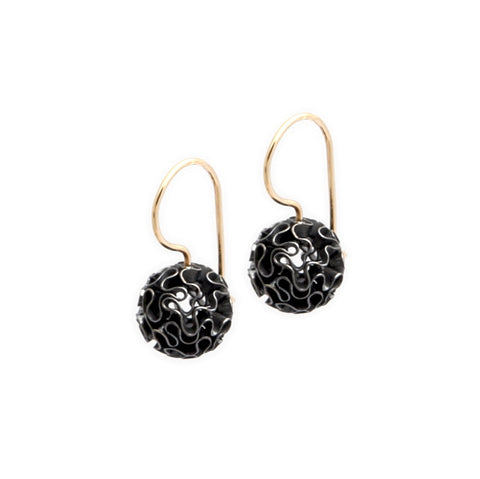 Miriam Oude Vrielink 14ct Yellow Gold Coral Sphere Hook Blackened Silver Earrings