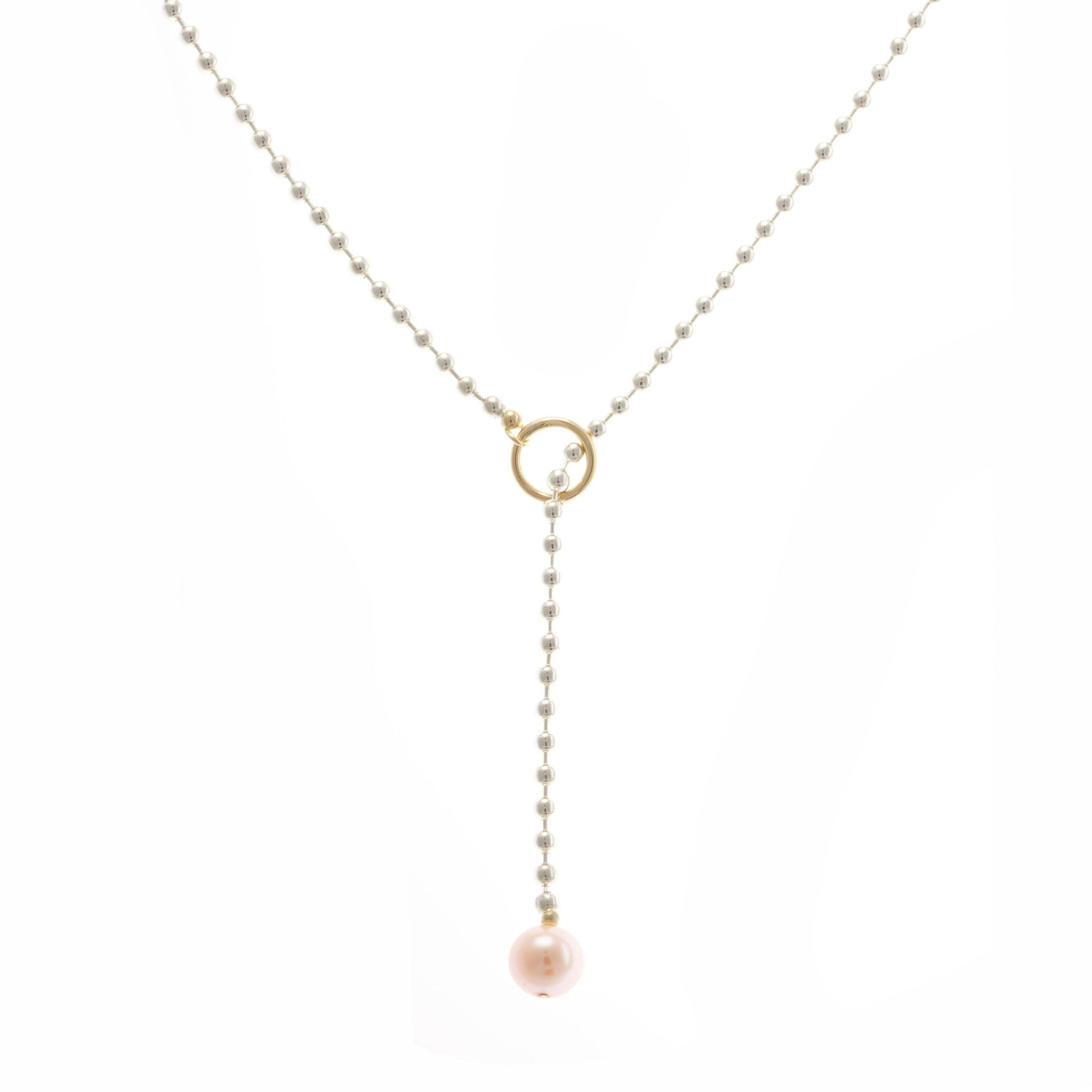 floating with water szendrei pearl a filled fresh pin necklace delicate pink julia gold chains