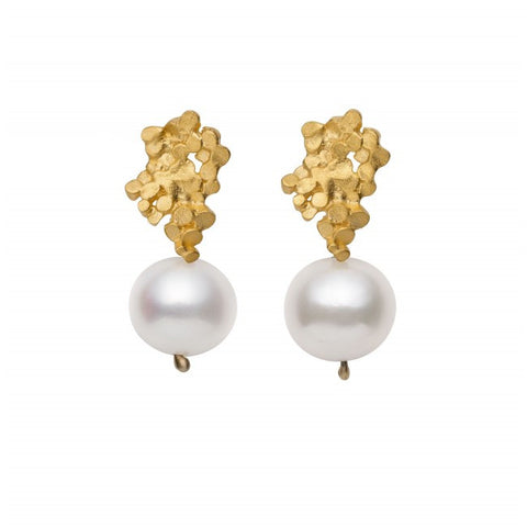 Mirri Damer Crown Gold Plated Pearl Drop Silver Earrings