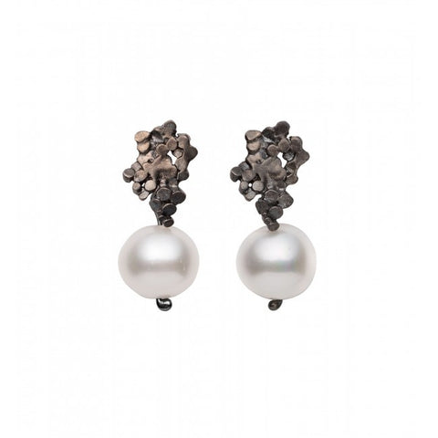 Mirri Damer Crown Oxidized Silver Pearl Drop Earrings