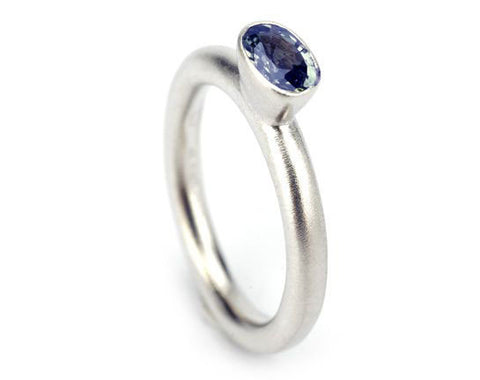 Mirri Damer Iolite Oval Solitaire Silver Ring