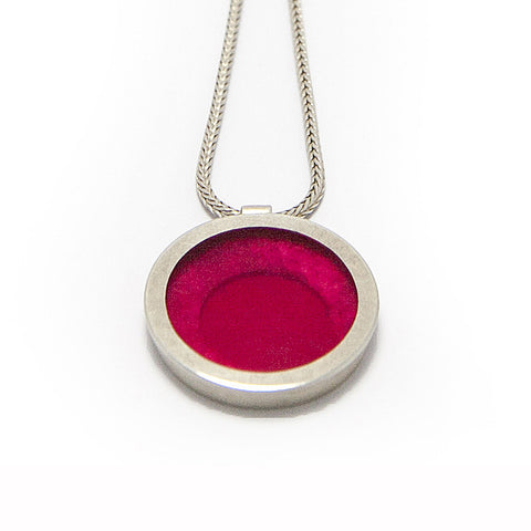 Monika Jacubec Foxchain Large Pink Resin Silver Necklace