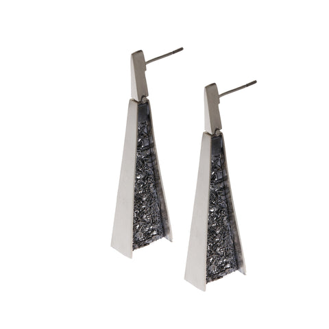 Neasa O'Brien Angular Oxidized Silver Earrings