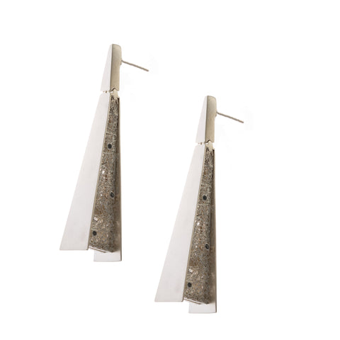 Neasa O'Brien Angular Silver Earrings