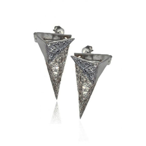 Neasa O'Brien 'La Gabbia' Oxidized Silver Earrings