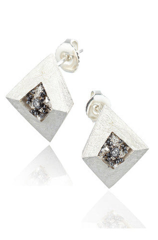 Neasa O Brien Perspective Oxidized Silver Earrings