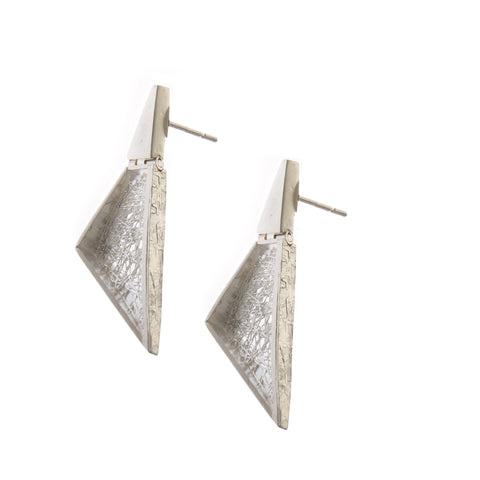 Neasa O'Brien Perspective Triangle Silver Earrings
