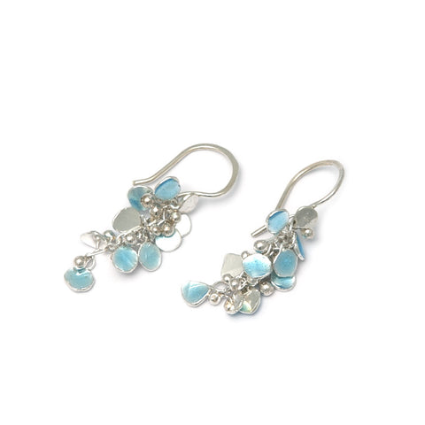 Neeltje Slater Enamel Blue Long Drop Silver Earrings