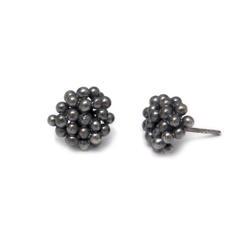 Neeltje Salter Bubble Cluster Stud Oxidized Silver Earrings