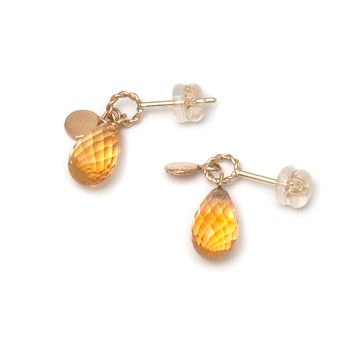 Neeltje Slater Citrine Drop 14ct Yellow Gold Earrings