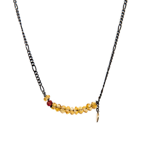 Neeltje Salter Citrine Garnet Silver 14ct Yellow Gold Necklace