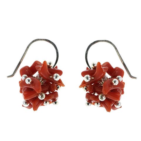 Neeltje Salter Coral Balls Silver Earrings