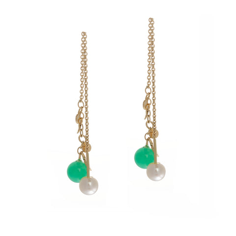 Neeltje Salter 14ct Golden Leaves Pearls Chrysoprase Yellow Gold Earrings
