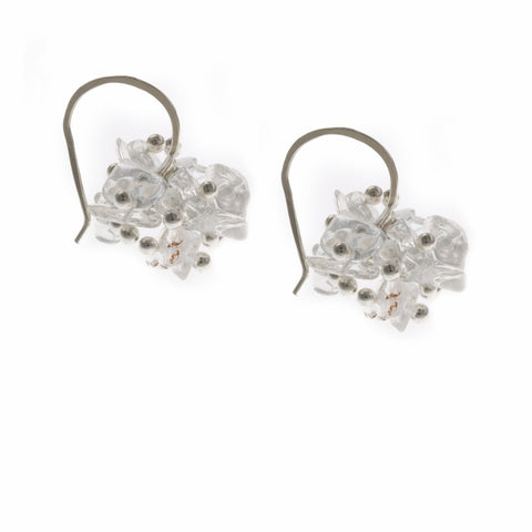 Neeltje Salter Fine Silver Balls Rock Crystal Silver Earrings