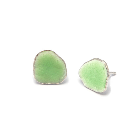 Neeltje Salter Green Enamel Silver Earrings