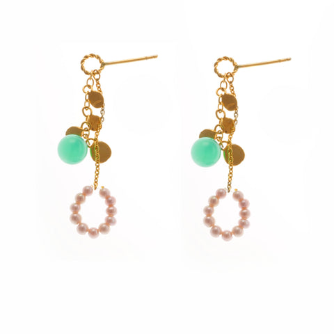 Neeltje Slater 14ct Golden Leaves Pink Pearls Chrysoprase Yellow Gold Earrings