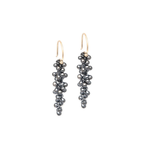 Neeltje Salter Long Drop Oxidized Silver And 14ct Yellow Gold Earrings