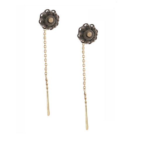 Neeltje Slater Zealand Ear Chain Oxidised 14ct Yellow Gold Earrings