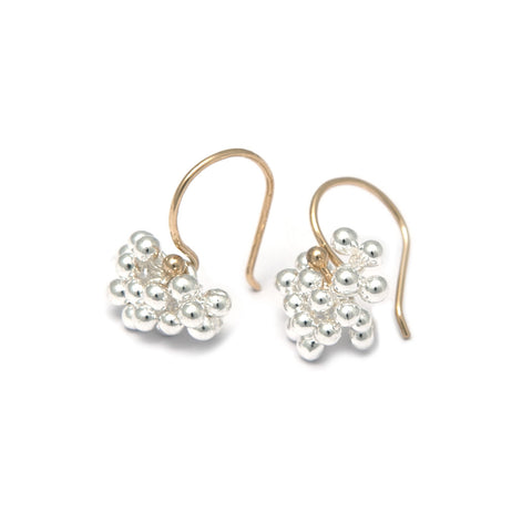 Neeltje Salter Silver Bubble Cluster Hook 14ct Yellow Gold Earrings