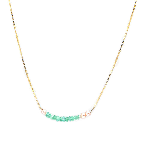Neeltje Slater Emerald Pearl 14ct Yellow Gold Necklace